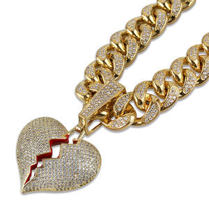 Fashion Broken Heart Iced Out Rhinestone Pendant Statement Gold Color Cubic Zircon Pendants Hip Hop Men's Jewelry Wholesale