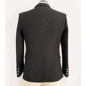 Image 4 - Мужской классический двубортный пиджак с металлическими кнопками в форме льва, дизайнерский подиумный пиджак, верхняя одежда, 2020