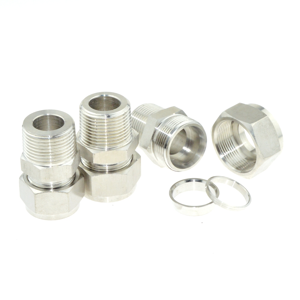 1PT Male Thread x 22mm,25mm ,25.4mm 1 OD Double Ferrule Tube Air Compression Pipe Fitting Connector 304 Stainless Steel BSPT 1pt male thread x 22mm 25mm 25 4mm 1 od double ferrule tube air compression pipe fitting connector 304 stainless steel bspt