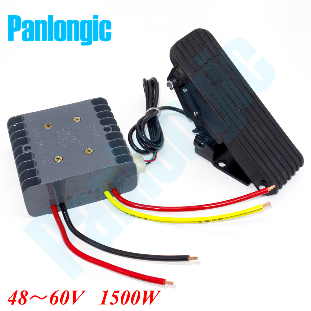 Panlongic 48V/60V 45A DC Brushed Motor Speed Control PWM Controller 1500W with Hall Foot Pedal Accelerator panlongic hand twist grip hall throttle 100a 5000w reversible pwm dc motor speed controller 12v 24v 36v 48v soft start brake