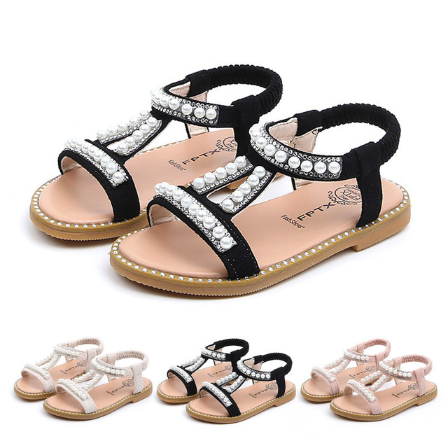 MUQGEW Summer Baby Girls Shoes Toddler Infant Kids Pearl Crystal Single Princess Roman Shoes Sandals For Children Girl Black