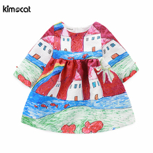 Kimocat Autumn Spring Long Sleeve Girl cartoon print dress princess dress kids clothes Floral Print Vintage Toddler