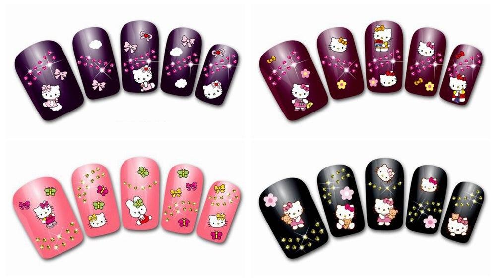 Nail stickers designs kamos sticker aliexpress 24sheets o kitty cartoon 3d nail stickers prinsesfo Gallery