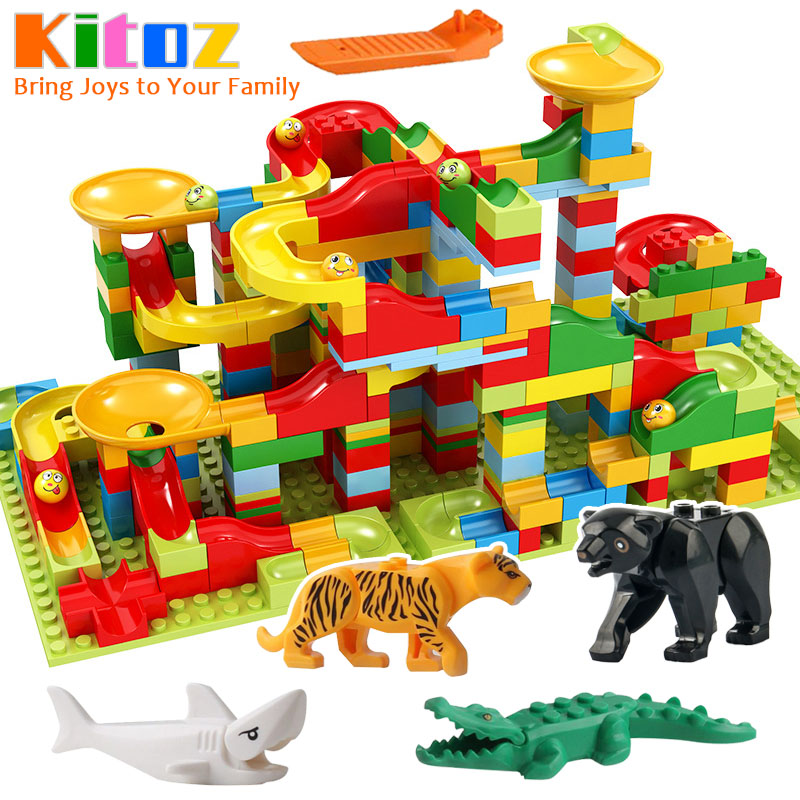 495pcs Small Size Marble Run Set Puzzle Maze Race Track Game Toy Roller Coaster Building Block Brick Toy Compatible with(China)
