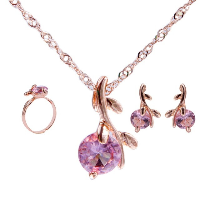 Amazing necklace earrings Ring wedding crystal sieraden women fashion jewellery set