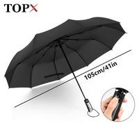 TOPX Büyük Rüzgar Kaliteli Dayanıklı Şemsiye Yağmur Kadınlar Otomatik 10Rib Lüks Geniş Rüzgar Geçirmez Golf Iş Erkekler Için Araba Şemsiye