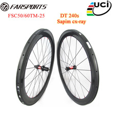 Custom T700 black carbon fiber wheelsets 50mm 60mm tubular rims with DT 240 hub for road racing bicycle glossy carbon wheels