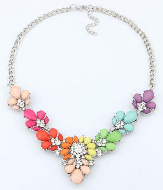 Ювелирные Изделия 2016 Новый 3 Цвета Кристалл цветов и камня Заявление Ожерелье Choker ожерелья & подвески Для Женщин Подарок