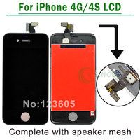 10PCS LOT White Black For IPhone 4 4S LCD Screen Digitizer Touch Display Assembly Complete Replacement