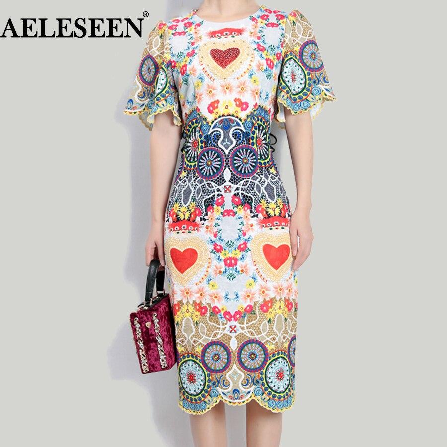 Runway Dress 2018 Summer Fashion New Women Ethnic Windmill Flower Print Flare Sleeve Contrast Color Knee-Length Beading Dress contrast collar & cuff pearl beading dress