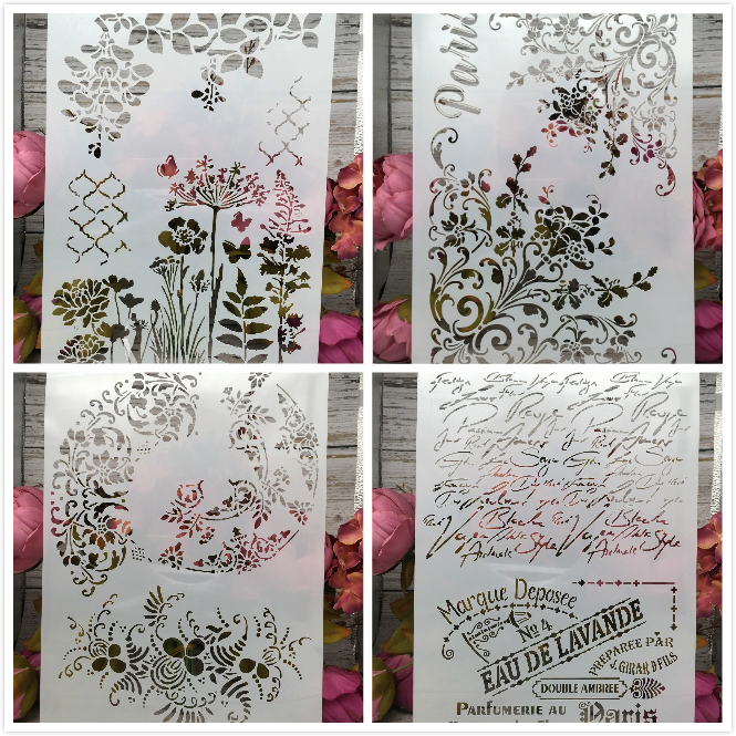 4Pcs/Lot A4 Floral French Words DIY Layering Stencils Painting Scrapbook Coloring Embossing Album Decorative Paper Card Template