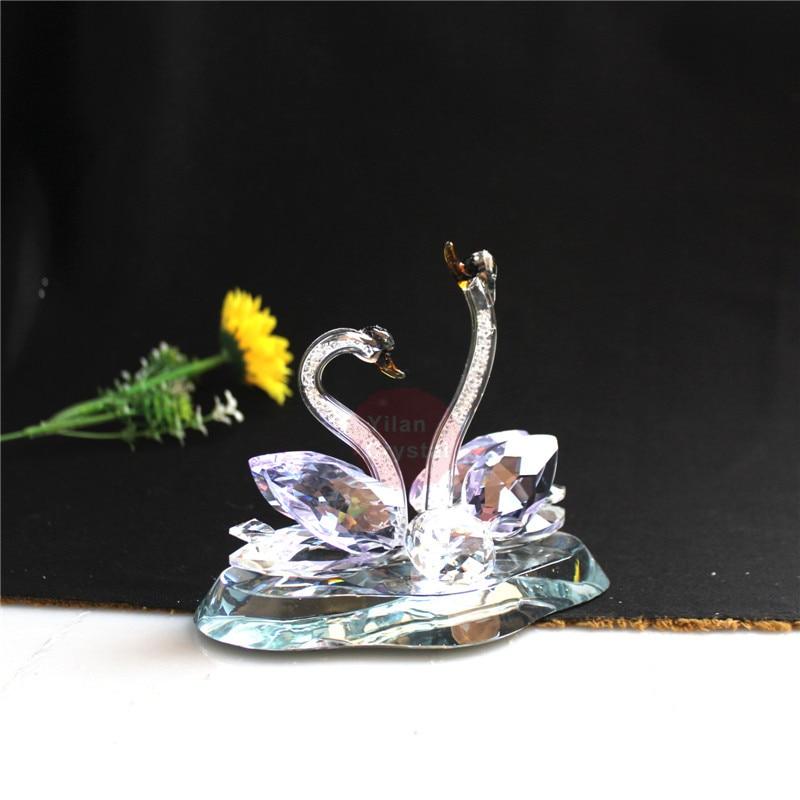 Cristal verre animaux cygne Figurines presse-papiers Feng Shui artisanat Figurine Art & Collection pour la maison de mariage décor enfants cadeaux