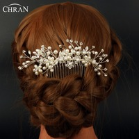 Chran Faux Pearl Bridal Hair Combs For Brides Wedding Hairpiece Accessories For Women Crystal Floral Headpiece