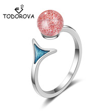 Todorova Female Jewelry Blue Mermaid Tail Strawberry Crystal Adjustable Finger Rings for Women Engagement Wedding Ring
