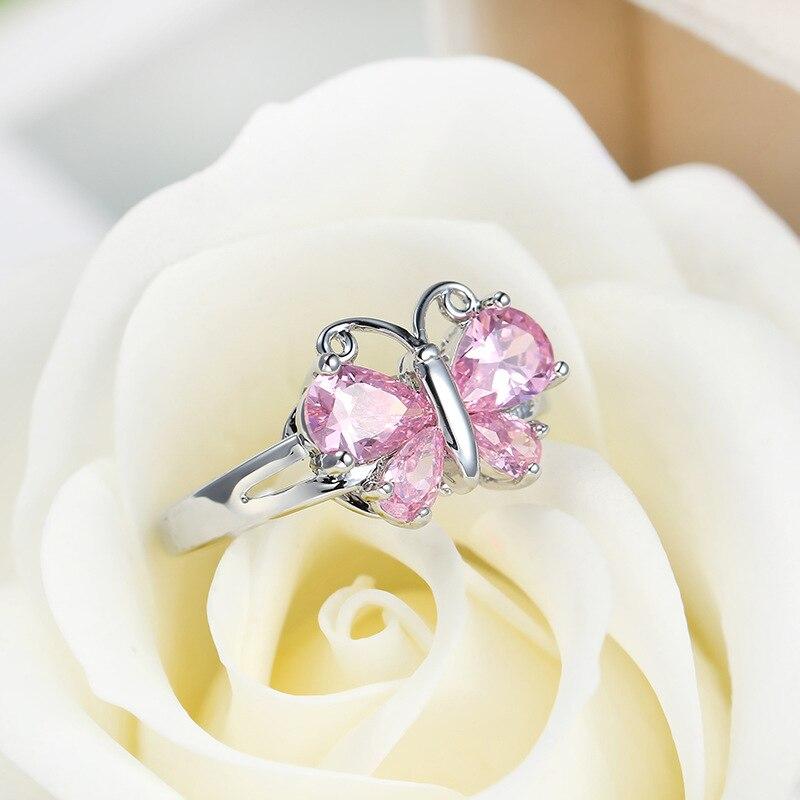 Роскошное женское кольцо модная Серебряная бабочка розовое кристалльное цирконовое кольцо с камнем винтажные свадебные кольца для женщин лучший подарок