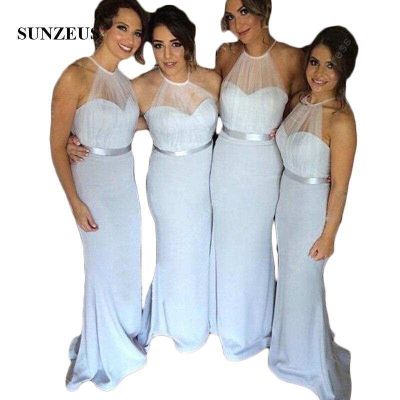Licou sirène robe de soirée de mariage pour les filles bleu clair pli vestido de dama de honra pure Tulle robe top invité de mariage S289
