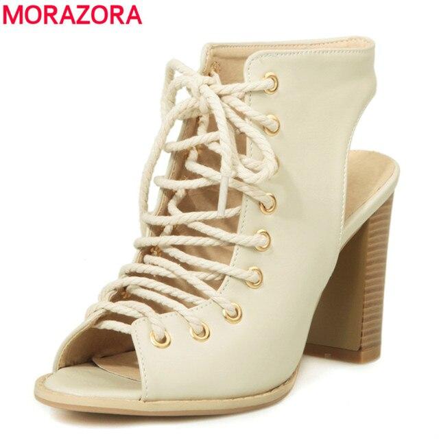 MORAZORA Большой размер 34-48 высокие каблуки гладиаторские сандалии женщин обувь зашнуровать peep toe летние сплошной цвет sexy party пром обувь