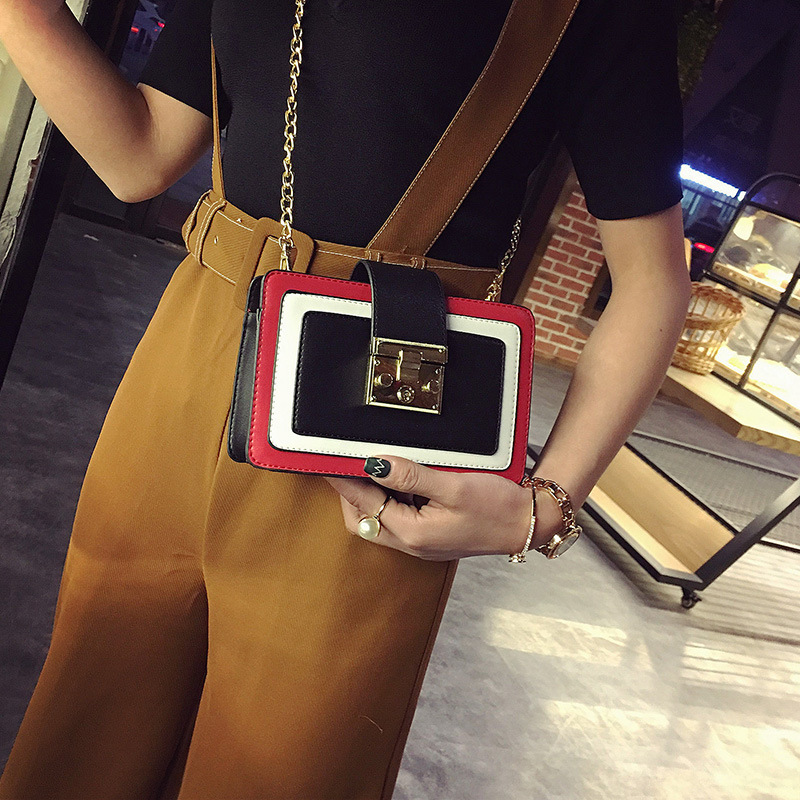 Women Bags 2018 New Trend Europe Small Square Package Fashion Hit Color Shoulder Handbags Simple Chain Messenger Bag