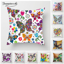Fuwatacchi Butterfly Cushion Covers Animal Flower Pillow Cover for Sofa Chair Home Decoration Painted Pillowcases 45*45cm