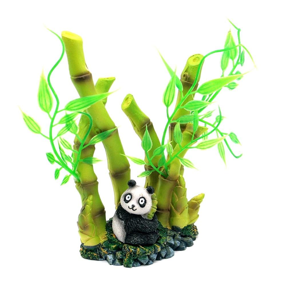 Dragon fish tank ornament - 1pcs Artificial Resin Lifelike Cute Panda Bamboo Fish Tank Ornament Green Aquarium Decor Landscape China