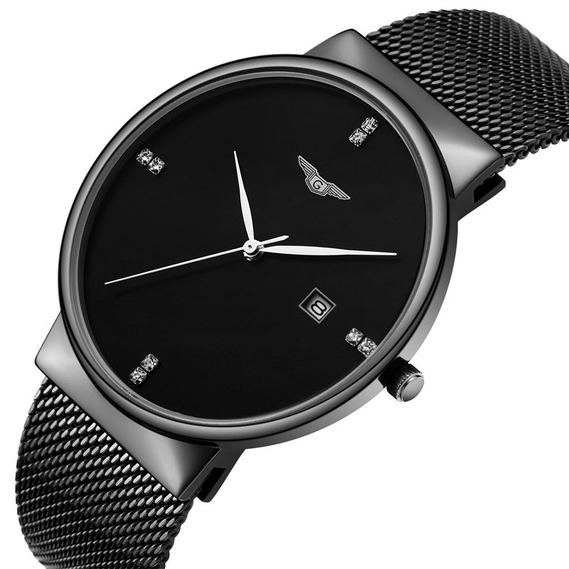 ФОТО GUANQIN Luxury Brand Casual Wristwatch Men Black Stainless Steel Quartz Watch Fashion male simple watch Business clock hours