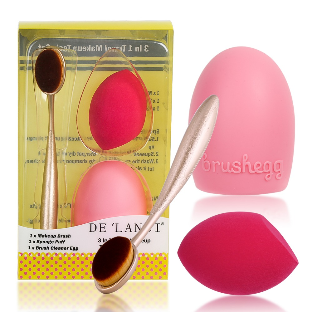 DE'LANCI 3 in 1 Travel Makeup Tools Set Toothbrush Oval Makeup Brush + Sponge Puff + Brush Cleaner Egg aqua two outdoor camping men sports hiking shoes genuine leather athletic trekking sneakers durable waterproof shoes es 101807