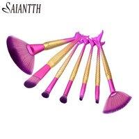 SAIANTTH Mermaid 7pcs makeup brushes set blush foundation eyeshadow eyeliner lip brush maquiagem professional beauty cosmetic