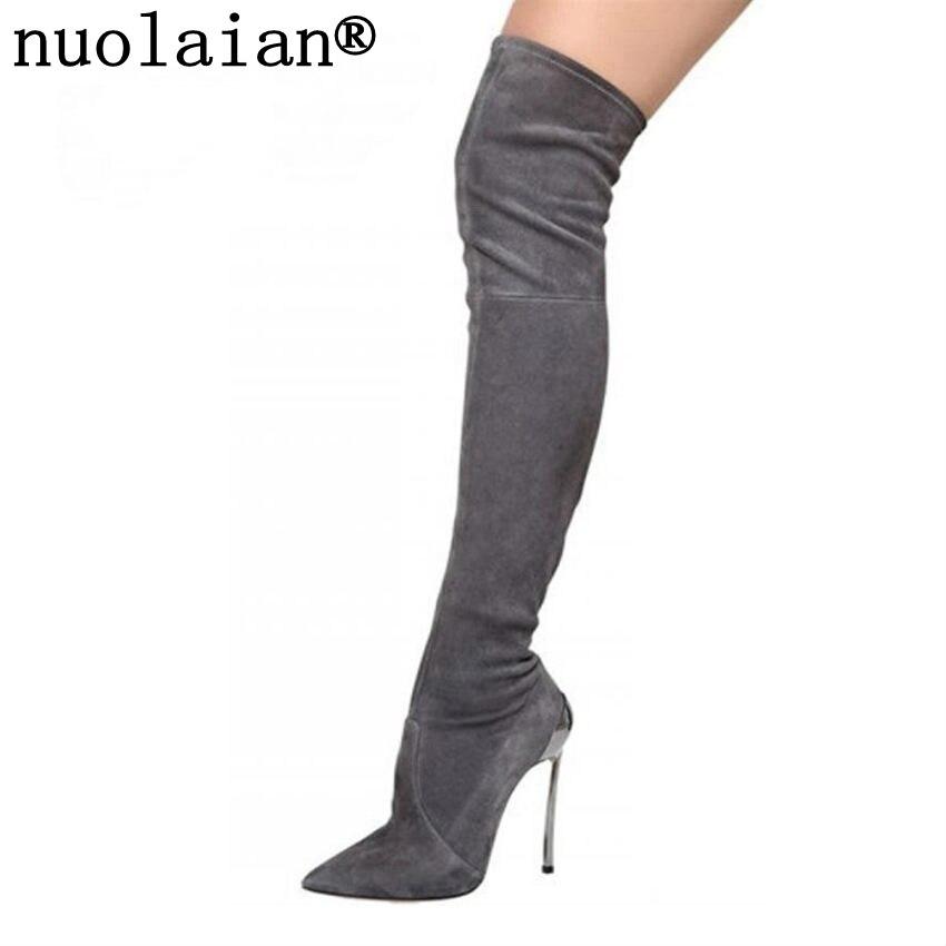 Women Ladies Fur Over Knee Boots Block Heel Thigh Stretch Winter zip Shoes Size