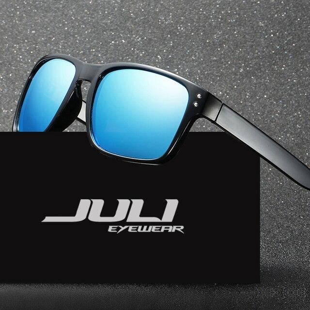 JULI Marca de ÓCULOS Retro Óculos De Sol Dos Homens Polarizados Praça Metal  Frame Lente Azul c131ff7fb3