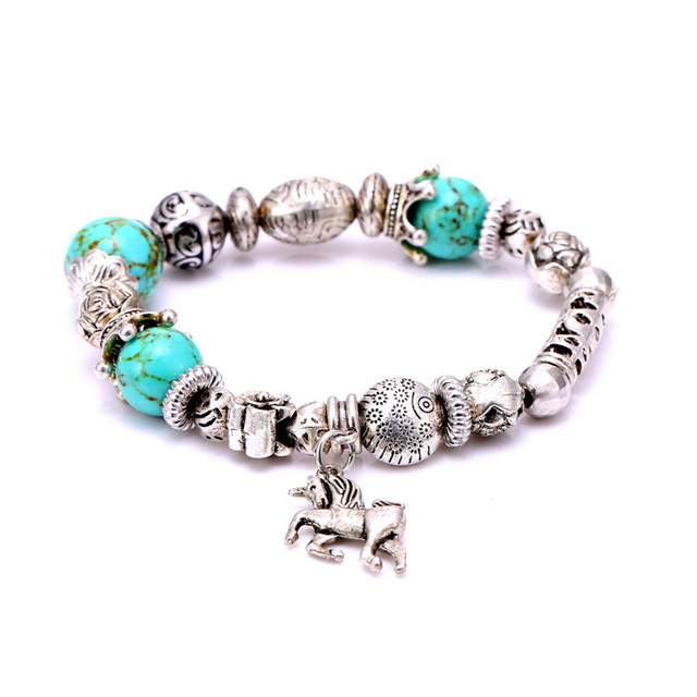 10 pcs/lot wholesale silver plated 4 colors CCB turquoise Beads crown& horse Charm Bracelets For Women  DIY Jewelry Pulsera