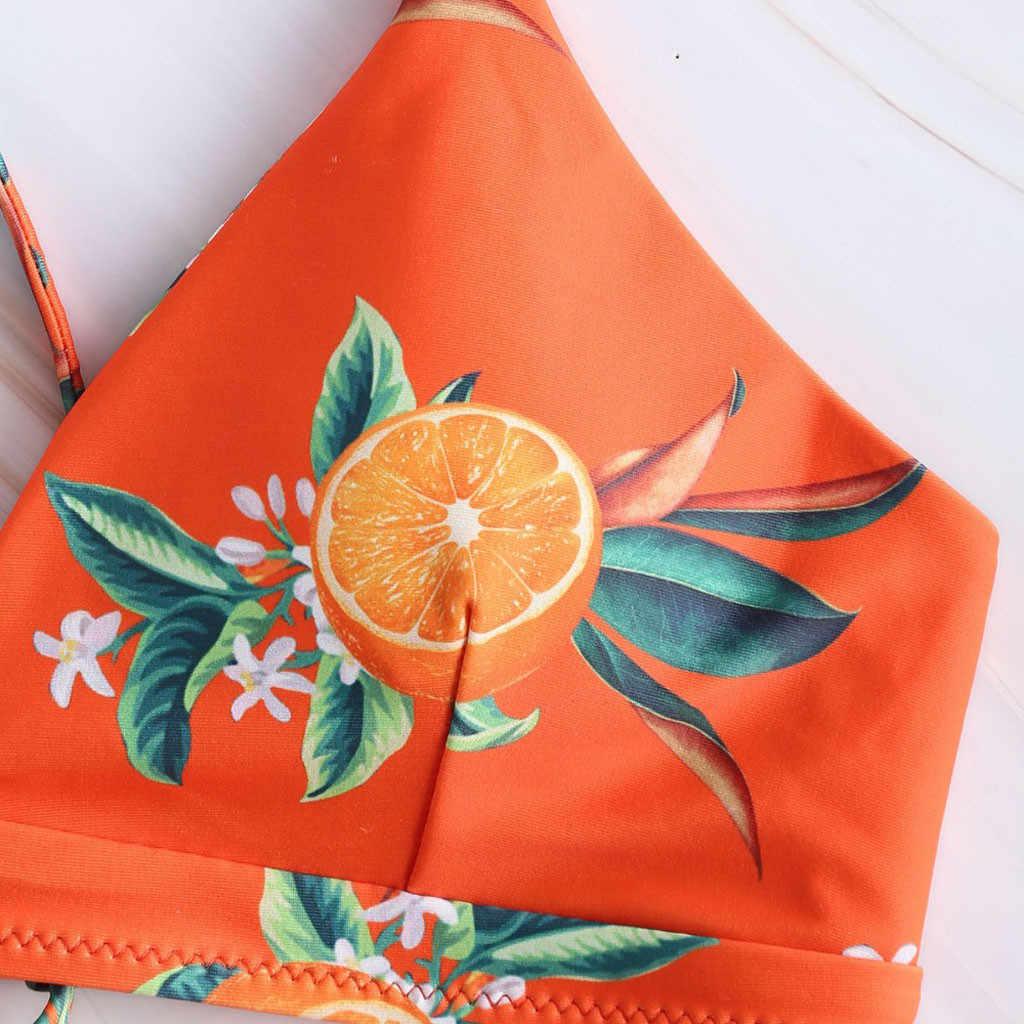 Bikini Vrouwen Oranje Dubbele Manier Riem Twee-Stuk Badpak Push Up Set Bandage Print Beachwear Badmode Bikini dropshipping D8