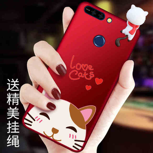 reputable site 575fc 71ae5 US $8.99 10% OFF For Huawei Honor 7X tpu cases, love cartoon 3D cat /rabbit  cover for Huawei changxiang enjoy 7X soft back cover china red strap-in ...
