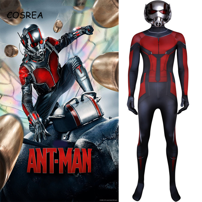 Movie Ant-Man and The Wasp Cosplay Clothing resin mask Superhero Ant-Man Costume Suit Jumpsuit Bodysuit Halloween Kids Adult men