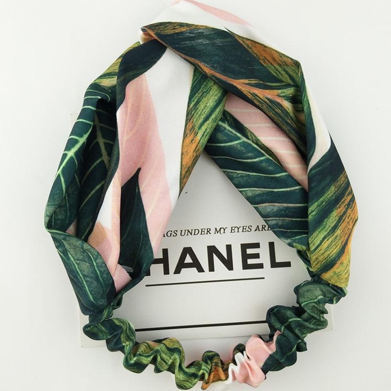 Лето, богемный стиль повязки для волос с принтом повязки для женщин ретро крест повязка тюрбан банданы женские аксессуары для волос