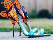 2018 Thin High Heels Genuine Leather Women Gladiator  Sandals 10cm Butterfly Sandals Heels Sexy Wedding Shoes Party Pumps Prom bonjomarisa 2018 summer sweet genuine leather sandals flower appliques shoes woman high thin heels party wedding lady shoe