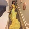 De manga larga de cuello alto negro de la muchacha prom dress 2017 appliqued sirena Larga de Encaje Vestido de Fiesta Por Encargo vestido de Noche Amarillo largo