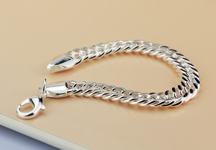 cce034ca7920ac Fashion Solid design 925 sterling silver bracelet jewelry Pure silver 10MM  20cm men/boy bracelet Snake Chain ICONS Handsome man-in Chain & Link  Bracelets ...