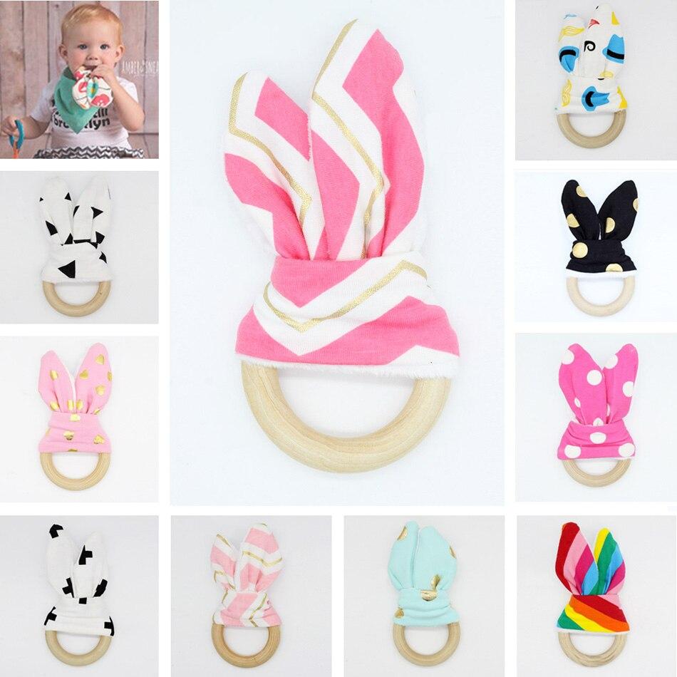 2017 New Arrival Baby Teethers Natural Wood Circle Fabric Wooden Teething Training Sensory Baby Teething Ring Aid Handmade Ring