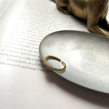 CANNER 925 anillo de zirconia de plata esterlina, anillo de moda de oro, anillo ajustable para el dedo índice del temerament para joyería de circonio para mujer R4