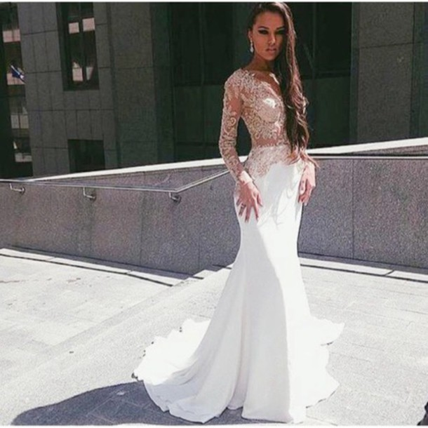 Compare Prices on Prom Dress Long Sleeve White Lace- Online ...