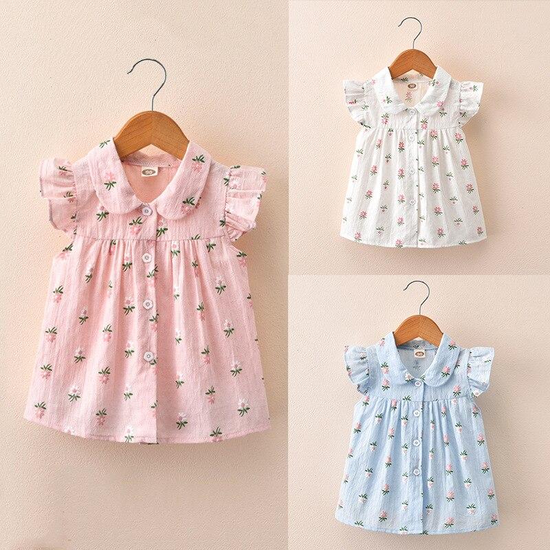 Children's Wear 2019 Summer New Children's Shirts Broken Flowers Short Sleeved Little Sleeve Girl Shirts