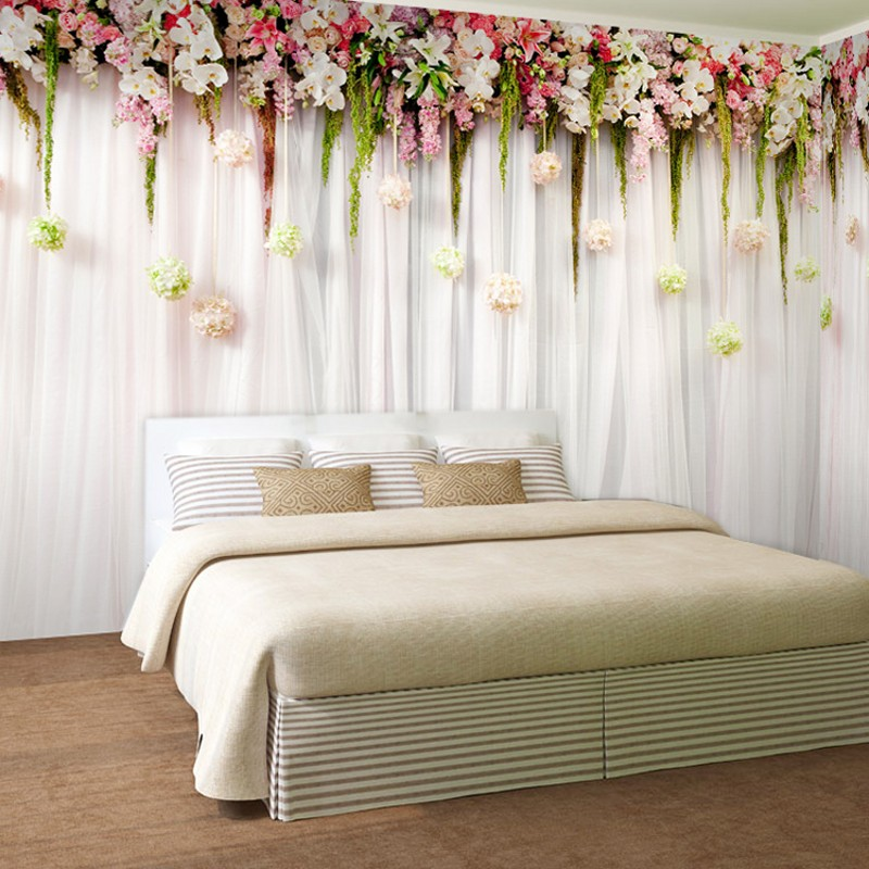 Buy beibehang curtains 3d decorative murals living room background wallpaper for Flower wallpaper for living room