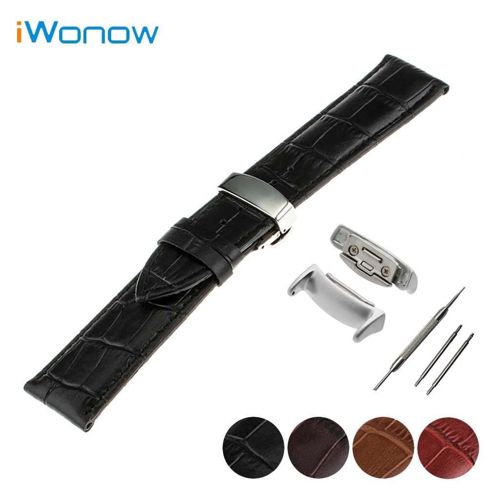 Genuine Leather Watch Band 18mm for Samsung Gear Fit 2 SM-R360 Stainless Steel Butterfly Clasp Strap Wrist Bracelet + Adapters luxury silicone watch replacement band strap for samsung gear fit 2 sm r360 wristband 100