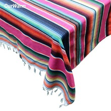 OurWarm 150X215cm Mexican Cotton Table Cloth Party Decoration Rainbow Serape Blanket Fiesta Birthday Supplies