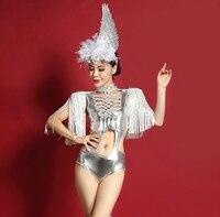 2015 Women Sexy Tassel Epaulet Space Silver Hollow Jazz Dance Jumpsuit Female Singer DS Dance Stage