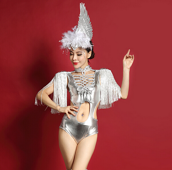 Tassel Epaulet Dance Stage Costume Bodysuit Women Sexy Space Silver Hollow Jazz  Dancing Jumpsuit Female Singer 112f5cf42