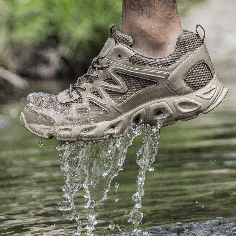 Sports d'été en plein air imperméable à l'eau à séchage rapide tactique en amont chaussures hommes randonnée pêche respirant maille plage Wading chaussures d'eau