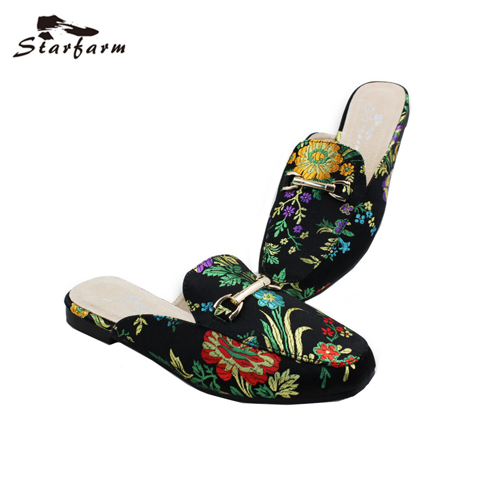 STARFARM Women Mules Ethnic Satin Embroidery Slippers Casual Flats Women Shoes Woman Slip On Loafers Chic