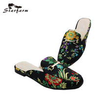STARFARM Femmes Mules Ethniques Satin Broderie Pantoufles Casual Appartements Femmes Chaussures Femme Slip Sur Mocassins Chic Mules Retour à L'école