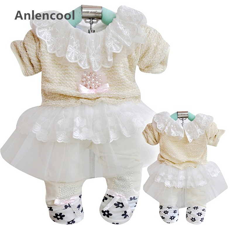 ФОТО Anlencool 2017 infant Valley girls clothing Autumn new Korean version of the latest Kit baby clothing baby girl clothes sets